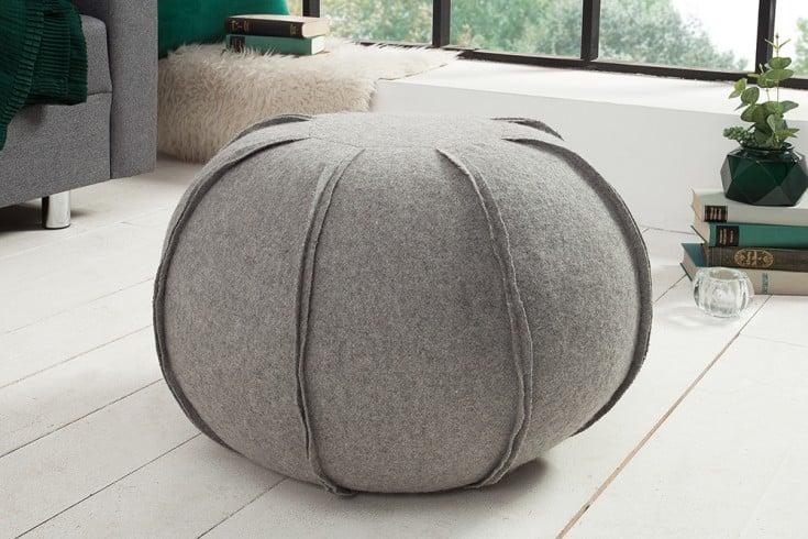 Design Pouf FILZ 50cm hellgrau Wollbezug Sitzhocker