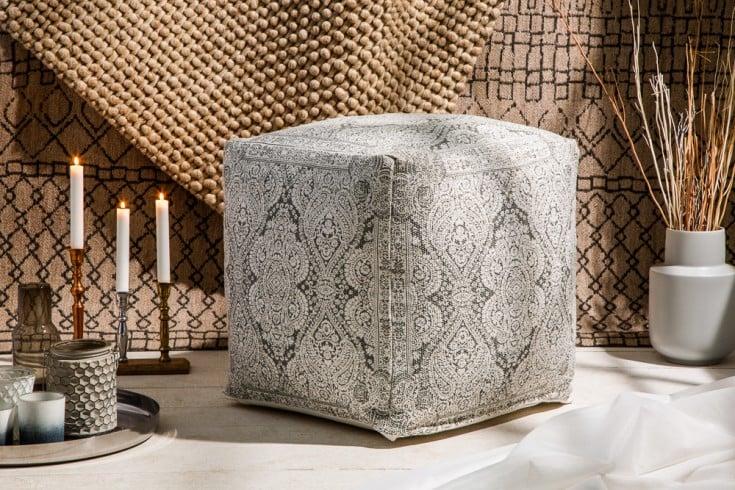 Design Pouf ORIENTAL 52cm grau weiß orientalischer Sitzhocker Leinenbezug