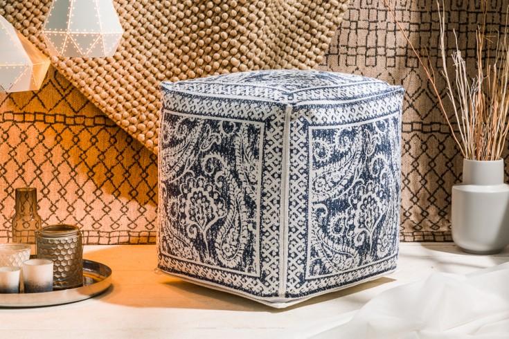 Design Pouf ORIENTAL blau weiß 52cm orientalischer Sitzhocker Leinenbezug