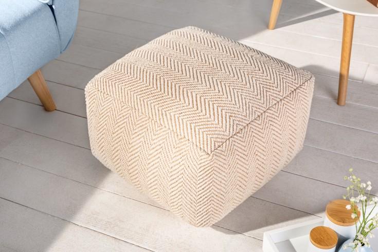 Design Pouf CLASSIC 51cm beige weiß Handarbeit Sitzhocker