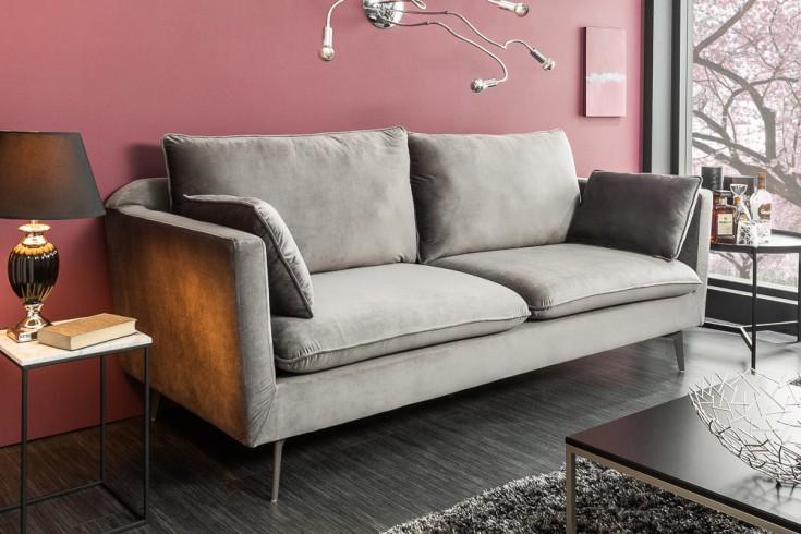 Design 3er Sofa FAMOUS silbergrau 210cm Samt Federkern inkl. Kissen