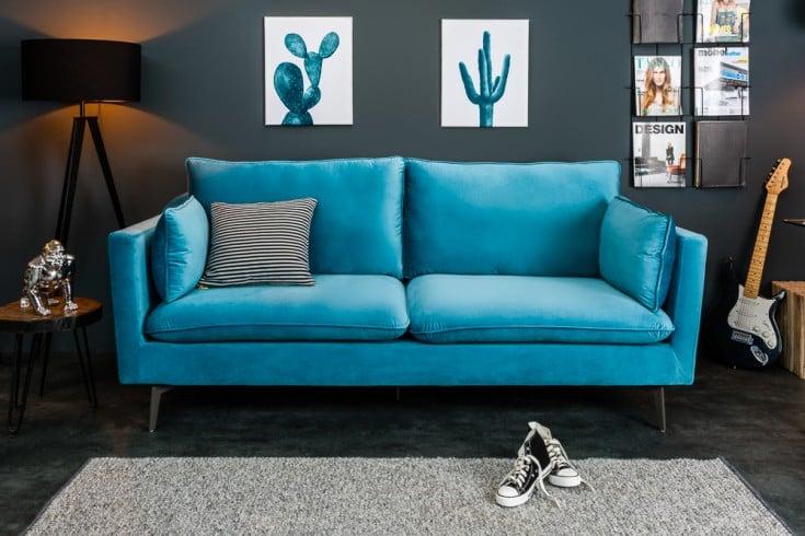Design 3er Sofa FAMOUS blau 210cm Samt Federkern inkl. Kissen