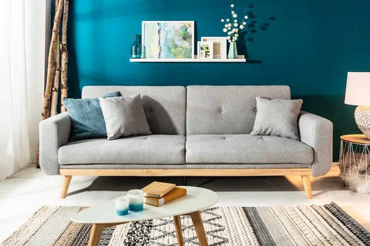 Design 3-Sitzer Schlafsofa SKAGEN 215cm hellgrau Scandinavian Design Bettfunktion