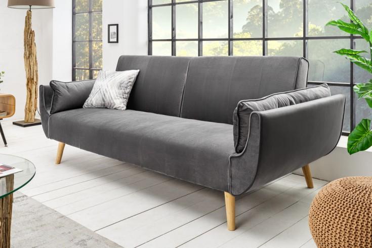 Design Schlafsofa DIVANI 215cm silbergrau Samt Bettfunktion Retro Design