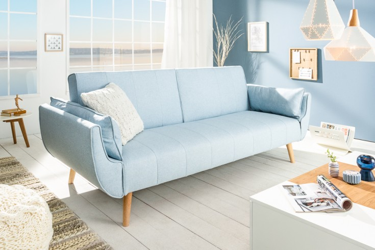 Design Schlafsofa DIVANI 215cm hellblau Bettfunktion 3er Sofa Scandinavian Design