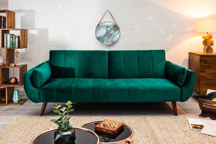 Retro Schlafsofa DIVANI 215cm smaragdgrün Samt Bettfunktion