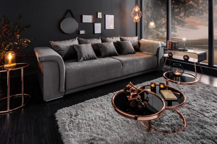 Big XL Sofa BELLINA 270cm hellgrau Samt Schlaffunktion inkl. Kissen