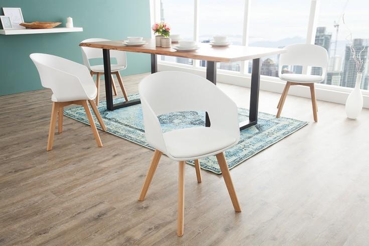 Design Stuhl NORDIC STAR weiß mit Beinen aus Eiche Scandinavian Design