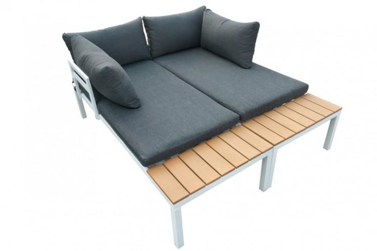Outdoor Sitzgruppe ORLANDO LOUNGE 173cm weiß grau Set Stahl wetterfest
