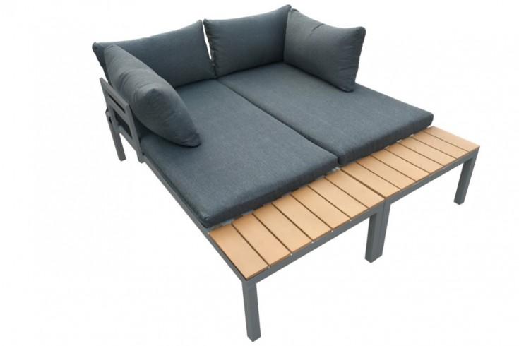 Outdoor Sitzgruppe ORLANDO LOUNGE 173cm schwarz grau Set Stahl wetterfest