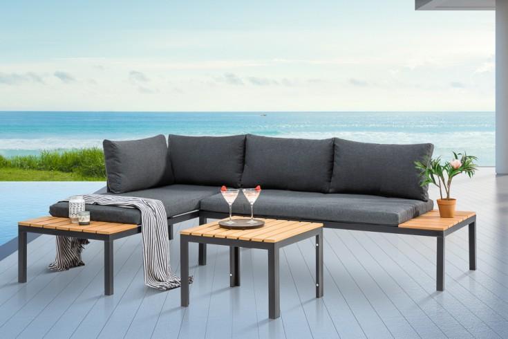 Outdoor Sitzgruppe ORLANDO LOUNGE 170cm schwarz grau Set Stahl wetterfest