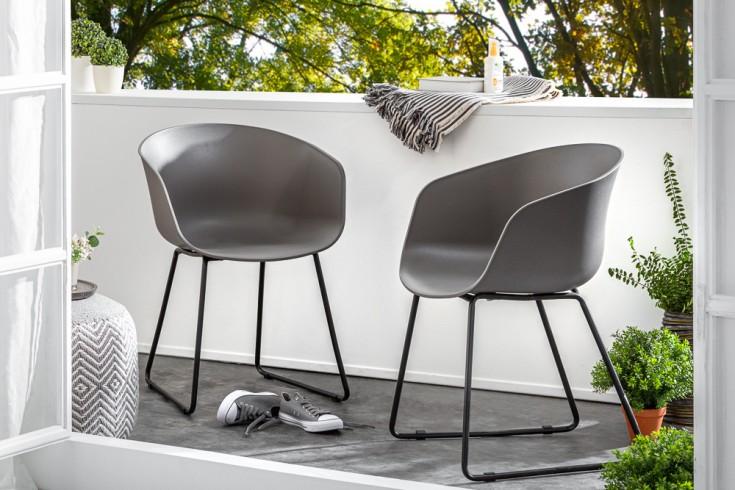 Moderner Schalen Stuhl IBIZA grau mit schwarzem Gestell wetterfest