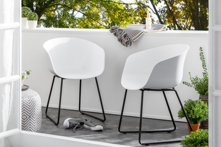 Moderner Schalen Stuhl IBIZA weiß mit schwarzem Gestell wetterfest