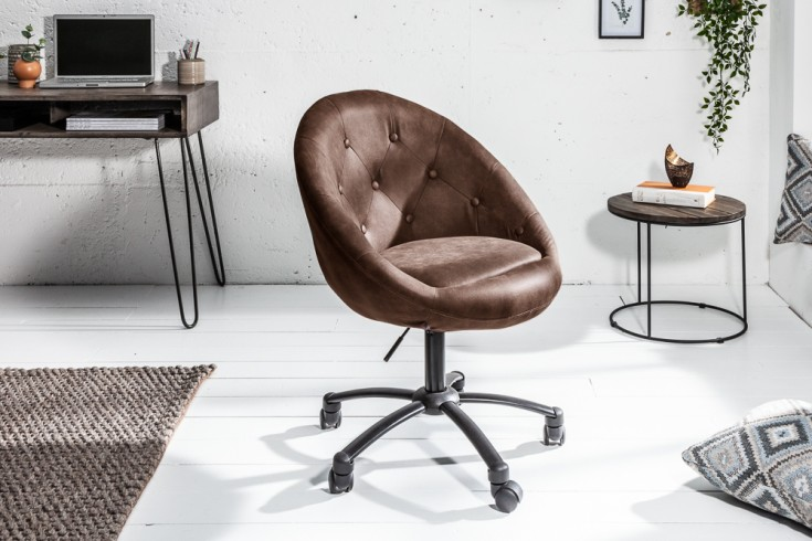 Höhenverstellbarer Bürosessel COUTURE antik coffee mit Rollen Loungedesign
