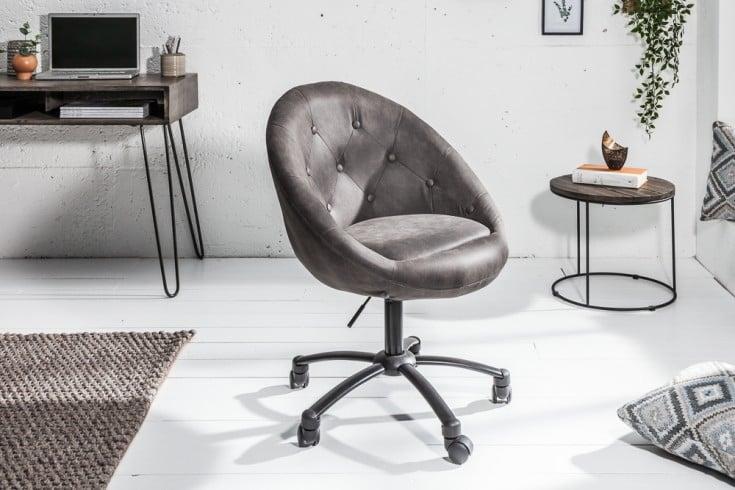 Höhenverstellbarer Bürosessel COUTURE antik grau mit Rollen Loungedesign