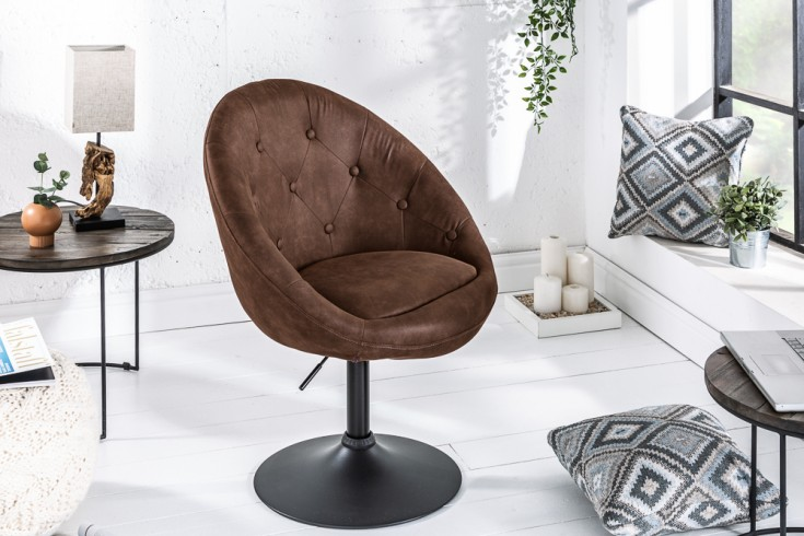 Design Drehsessel COUTURE antik coffee höhenverstellbar im Loungedesign