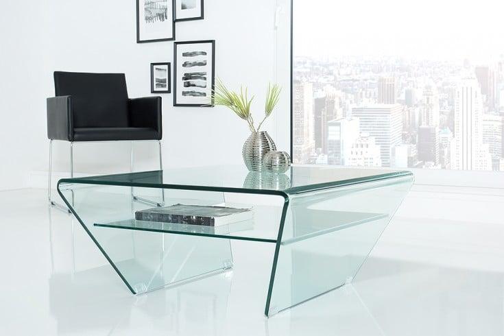 Moderner Glas Couchtisch FANTOME 70cm Trapez mit Ablage transparent