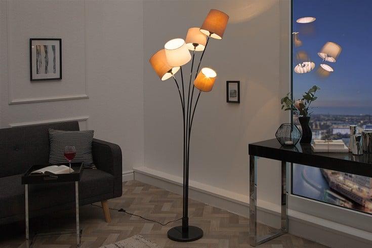 Design Stehlampe LEVELS 176cm weiß beige braun mit 5 Leinenschirmen