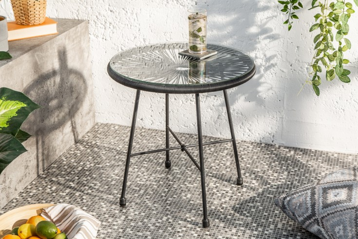 Filigraner Gartentisch ACAPULCO 51cm schwarz Outdoor Tisch Designklassiker