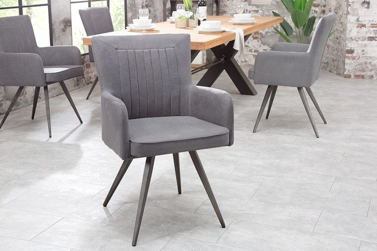 Retro Design Stuhl ROADSTER antik grau mit Armlehnen und Federkern