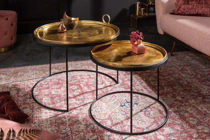 Elegantes 2er Set Couchtische ELEMENTS gold schwarz mit abnehmbarer Tischplatte