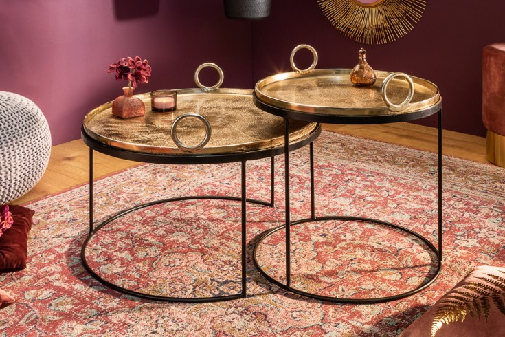 Elegantes 2er Set Couchtische FUSION ORIENTAL gold schwarz mit abnehmbarer Tischplatte