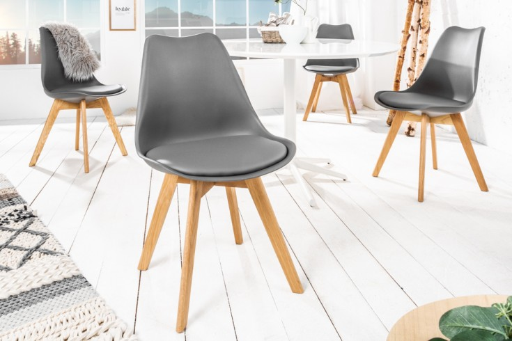 Retro Design Stuhl SCANDINAVIA MEISTERSTÜCK grau Eichenholz Beine