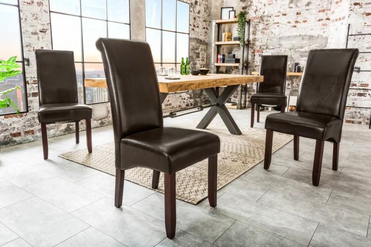 Exklusiver Design Stuhl PULS dunkelbraun mit Nackenrolle