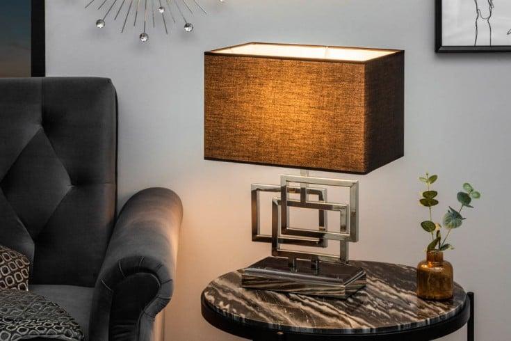 Moderne Tischleuchte LEONOR 56cm silber Modern Design mit Stoffschirm