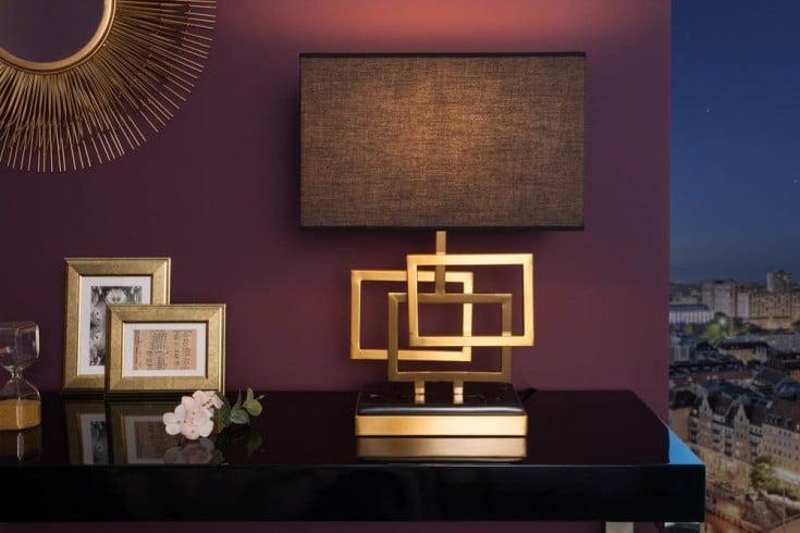 Moderne Tischleuchte LEONOR 56cm gold Modern Design mit Stoffschirm