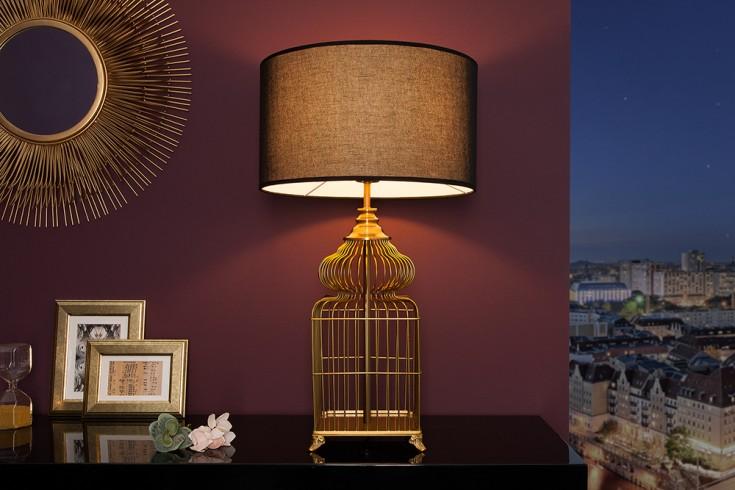Elegante Tischleuchte CAGE 68cm gold Vintage Style mit Stoffschirm