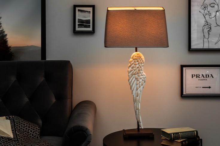 Einzigartige Tischleuchte ANGEL 85cm Engelsflügel mit Leinenschirm Shabby Chic