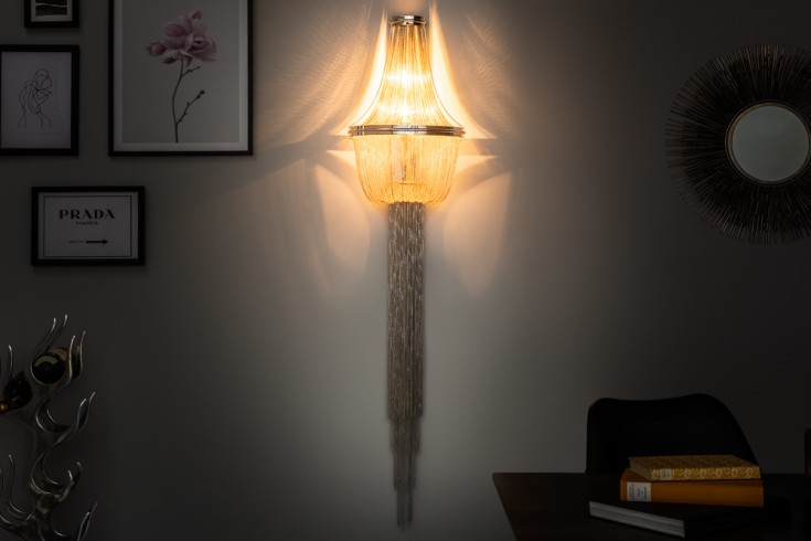 Extravagante Wandleuchte GLAMOUR 150cm silber Wandlampe