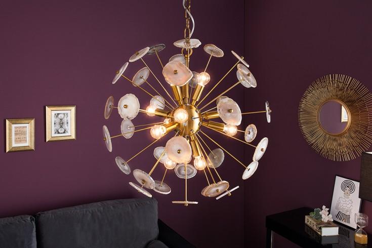 Elegante Hängeleuchte ONYX 60cm gold mit Edelsteinen Hängelampe