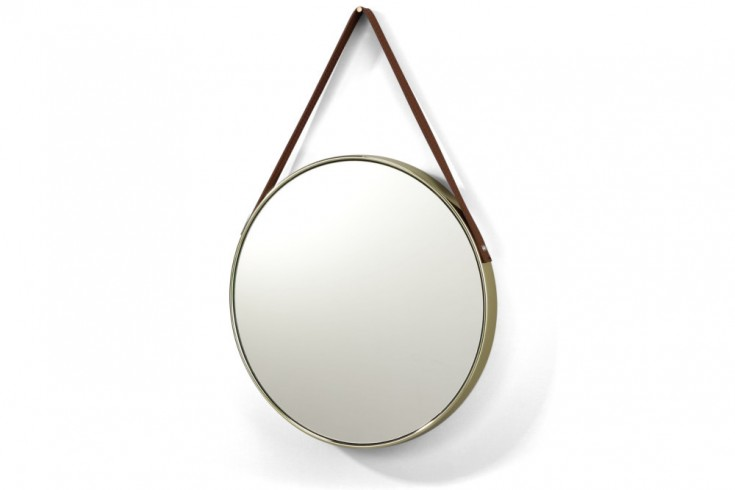 Runder Design Spiegel PORTRAIT 45cm gold braun Kunstleder Aufhängung