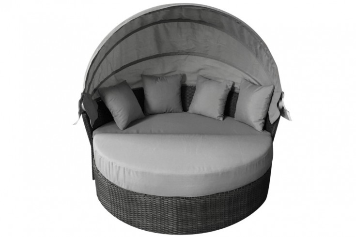 Wandelbare Sonneninsel PLAYA 165cm grau inkl. Kissen und drehbarer Sitzfläche Outdoor fähig