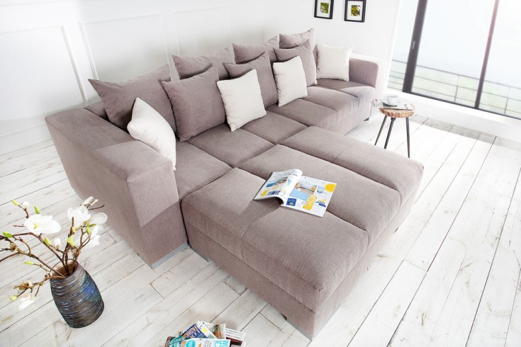 Design XXL Sofa BIG SOFA ISLAND Soft Baumwolle greige inkl. Kissen