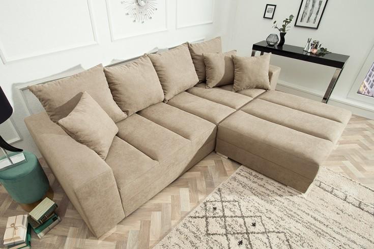 Design XXL Sofa BIG SOFA ISLAND 290cm greige Soft Baumwolle inkl. Kissen