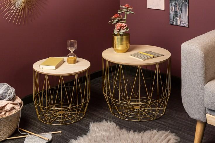 Design 2er Set Couchtische STORAGE 50cm gold Eiche Aufbewahrungskorb Beistelltische