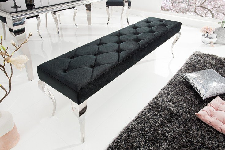Elegante Sitzbank MODERN BAROCK 172cm schwarz Samt Edelstahl