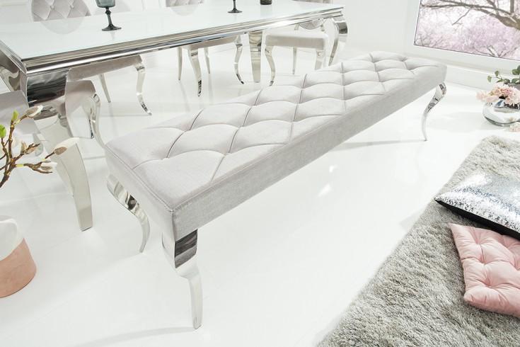 Elegante Sitzbank MODERN BAROCK 172cm silber Samt Edelstahl