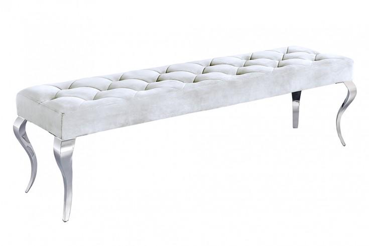 Elegante Sitzbank MODERN BAROCK 170cm silber Samt Edelstahl