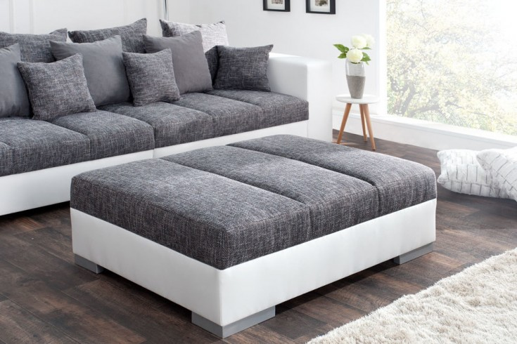 Hocker zum Sofa BIG SOFA ISLAND 120cm weiß grau Strukturstoff charcoal