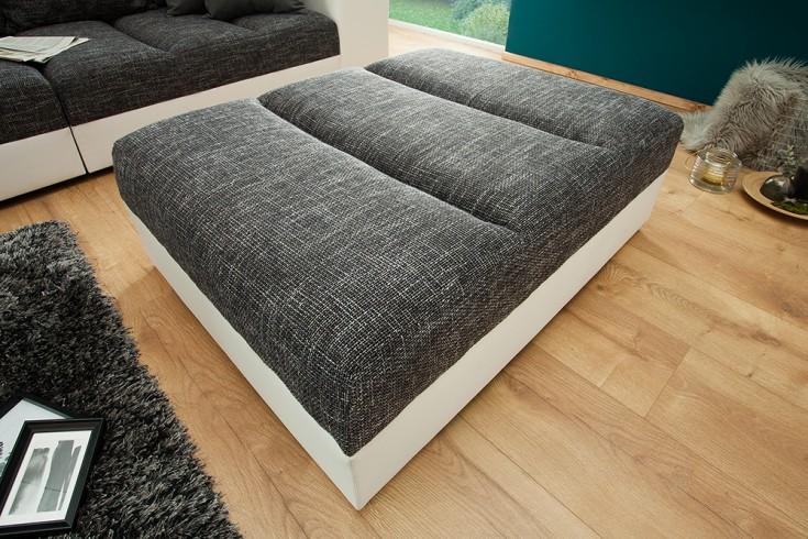 Design Hocker zum Sofa BIG SOFA ISLAND 120cm weiß grau Strukturstoff