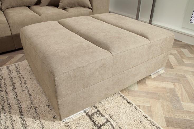 Design Hocker zum Ecksofa ISLAND 120cm greige Baumwolle