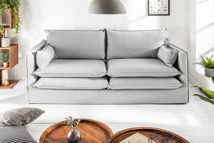 Design Hussensofa CLOUD 195cm hellgrau inkl. Kissen 2er Sofa Landhausstil