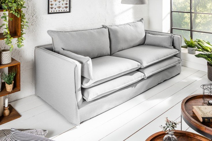 Design Hussensofa CLOUD 195cm hellgrau inkl. Kissen 2er Sofa Landhausstil