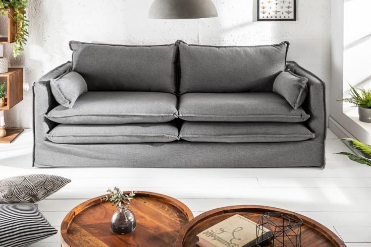 Design Hussensofa CLOUD 195cm grau inkl. Kissen 2er Sofa Landhausstil