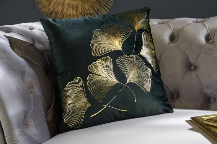 Elegantes Samtkissen 40x40cm dunkelgrün mit goldenen Blättern