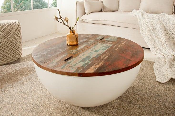 Design Couchtisch JAKARTA 70cm weiß rund aus recycelten Fischerbooten mit Stauraum